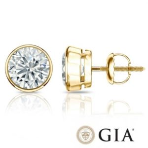 Diamant Ohrstecker Single 0,25 Ct. GIA zertifiziert 14K Gelbgold